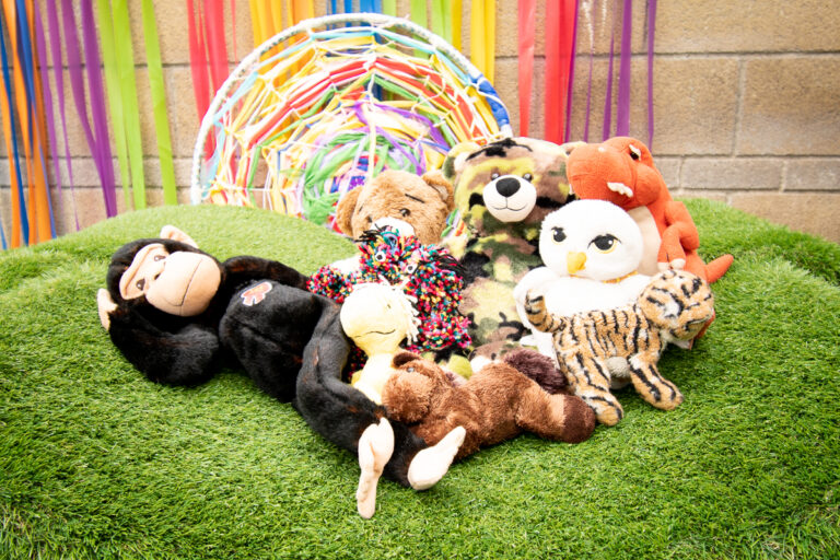 Monkey chilling with friends in the garden